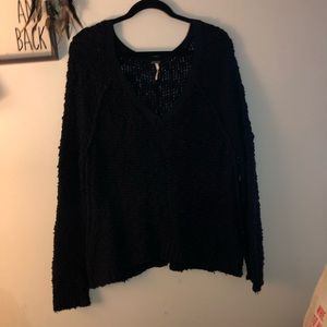 Free people long sleeve charcoal sweater S